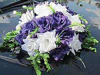 Икебана-панно Бело-Фиолетовая на Присосках, украшение свадебной машины