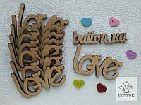 """Деревянная надпись """"love"""" сердце"""
