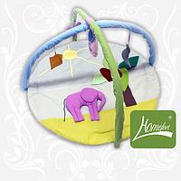 """Круглый симпатичный игровой коврик """"Слон"""" с дугами и подвесными игрушками для малыша (140х90 см) ТМ Хомфорт"""