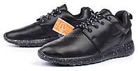 Кроссовки мужские кожаные Nike Roshe Run Oreo черные, Черный, 46