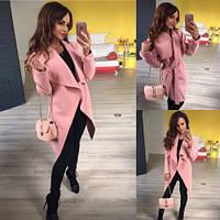 Пальто кардиган женский с поясом 161 норма и бат пудра,магазин модной одежды
