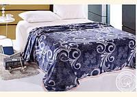 Плед микрофибра полуторный размер 150*200, Синий узор, лучшая цена!