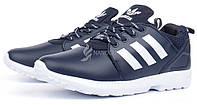 Кроссовки мужские кожаные Adidas ZX Flux Torsion темно синие, Синий, 44
