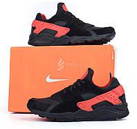 Кроссовки мужские кожаные Nike Huarache black&red черные с красным, Черный, 41