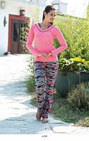 Женский трикотажный домашний костюм салатовый  ANGEL STORY 16290