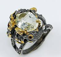 """Оригинальный перстень """"Серебряный карп """" с празеолитом , размер 17,3, фото 1"""