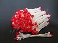Тайские тычинки, КРАСНЫЕ, супер-мелкие на белой нити, 23-25 нитей, 50 головок