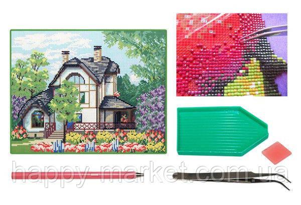 Мозаика алмазная 5D Дом в цветущем саду 28*36 см. F2300