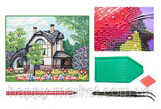 Мозаика алмазная 5D Дом в цветущем саду 28*36 см.