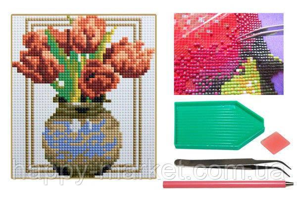 Мозаика алмазная 5D Ваза с тюльпанами 18*20 см., фото 2