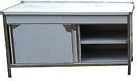 Тумба стол с двумя полками и дверями купе из нержавеющей стали