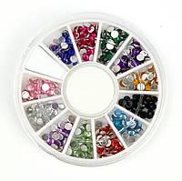 Стразы в карусели для дизайна ногтей цветные большие (600 шт)