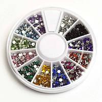 Стразы в карусели для дизайна ногтей цветные кружочки маленькие (600 шт)