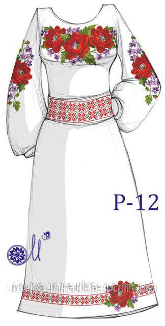 Заготовка для вишивання плаття бісером Р-12
