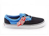 Кеды мужские Vans Era Black/LightBlue черные/голубые топ реплика