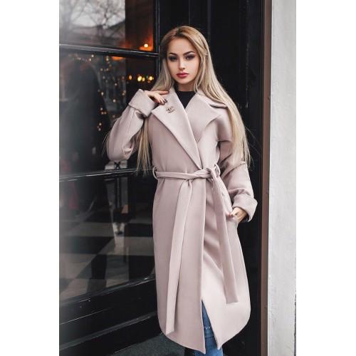 df8887040aa Пальто женское кашемировое бежевое с поясом 166 -02