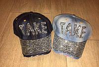 Джинсовая кепка,бейсболка TAKE со стразами в двух цветах