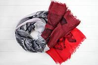 Легкий шарф Ибица из вискозы и хлопка, красный