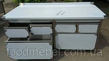 Стол тумба с выжвижными ящиками из нержавеющей стали