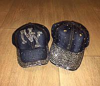 Джинсовые кепки,бейсболки со стразами в ассортименте