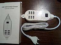 Сетевое зарядное устройство 6 USB разьемов  Хаб  25W  5A  кабель 1,5м  Акция !!!