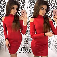 Платье с вырезом на плечах цвет красный 12361