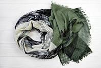 Легкий шарф Ибица из вискозы и хлопка, оливковый