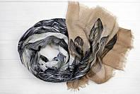 Легкий шарф Ибица из вискозы и хлопка, песок