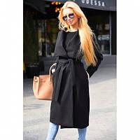 Пальто кардиган женское кашемировое с поясом №8081 черное,верхняя одежда женская