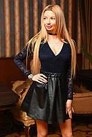 Юбка женская ТРАПЕЦИЯ ОСНОВА ЭКО КОЖА НА РЕЗИНКЕ  ДЛИННА 45 СМ, цвет черный, фото реал вмаг №9038
