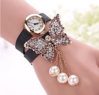 Женские часы черные с бабочкой и стразами