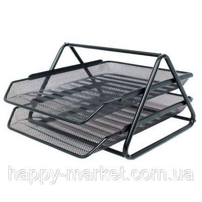 Лоток для бумаги BJ-2002 (2 секции горизонтальный металлическая сетка) черный, фото 2