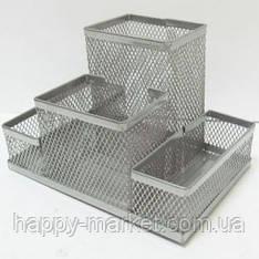 """Органайзер настільний металевий BJ9056-1 """"Сітка"""" 4 відділення, срібний (15*10 див.)"""