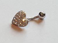 Серебряная серьга для пирсинга пупка. Артикул Пр2Ф/022