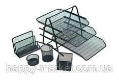Офісний набір 7809/9605 метал (5 предметів, лоток горизонт. 3 секції)