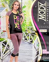 Женский комплект футболка+капри Турция. MODY 6943. Размер 44-46.