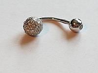 Серебряная серьга для пирсинга пупка. Артикул Пр2Ф/031