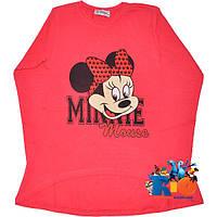 "Детский батник с ярким принтом ""Happy Minnie"" , трикотаж (интрелок) , для девочки от 8-12 лет"