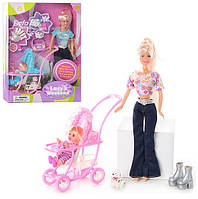 Кукла DEFA 20958 с дочкой, коляской, собачкой, аксессуарами