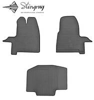Резиновые коврики Stingray Стингрей Ford Transit Custom 2012- Комплект из 3-х ковриков Черный в салон. Доставка по всей Украине. Оплата при получении
