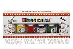 """Краски по стеклу 6 цветов """"BARROCO"""" (25 мл./в банке) с нейлоновой кистью"""