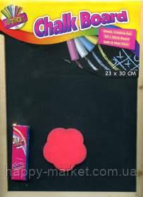 Доска для рисования меловая 2330 (23*30 см.) +2 мелка+губка