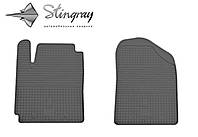 Резиновые коврики Stingray Стингрей Hyundai i10  2008- Комплект из 2-х ковриков Черный в салон. Доставка по всей Украине. Оплата при получении