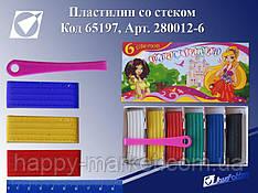 """Пластилин 280012-6 """"Принцесса"""" 6 цв. в картонной упаковке со стеком"""