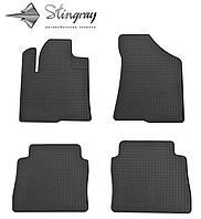 Резиновые коврики Stingray Стингрей Hyundai Santa Fe 2010- Комплект из 4-х ковриков Черный в салон. Доставка по всей Украине. Оплата при получении