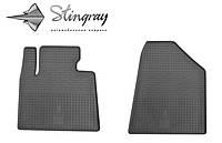 Резиновые коврики Stingray Стингрей Hyundai Santa Fe 2013- Комплект из 2-х ковриков Черный в салон. Доставка по всей Украине. Оплата при получении