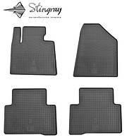 Резиновые коврики Stingray Стингрей Hyundai Santa Fe 2013- Комплект из 4-х ковриков Черный в салон. Доставка по всей Украине. Оплата при получении