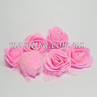 Роза из фоамирана, с фатином, 3,5 см, цвет розовый