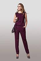 Летний женский комбинезон из качественной итальянской ткани цвета бордо