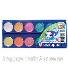 """Краски акварельные Луч """"Аквариум"""" 12 цветов перламутровая"""